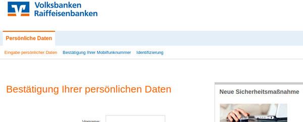 Ansicht der gefälschten Internetseite zur Überprüfung der Kundendaten - Bestätigung der persönlichen Daten